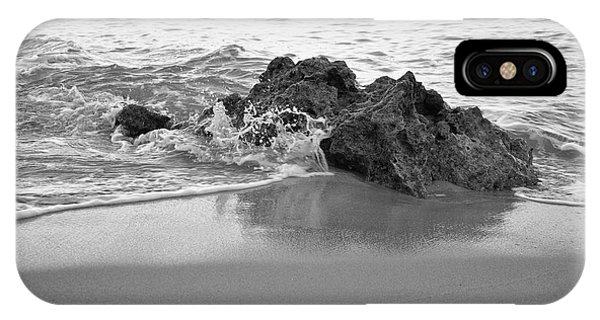 Rock And Waves In Albandeira Beach. Monochrome IPhone Case