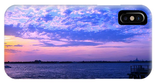 Rockaway Point Dock Sunset Violet Orange IPhone Case
