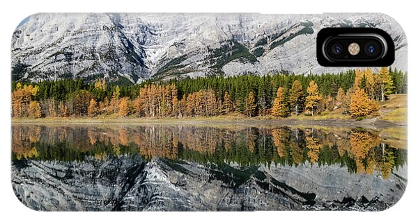 Rockies From Wedge Pond Under Late Fall Colours, Spray Valley Pr IPhone Case