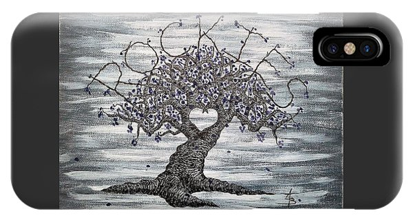 IPhone Case featuring the drawing Rockies Love Tree by Aaron Bombalicki