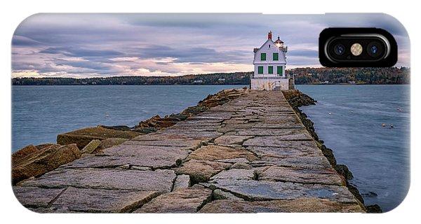 Navigation iPhone Case - Rockland Harbor Breakwater Light by Rick Berk