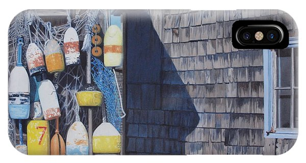 Rockport Fishing Shack With Lobster-buoys And Nets IPhone Case