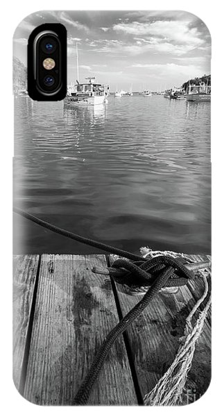 Rockport Harbor, Maine #80458-bw IPhone Case