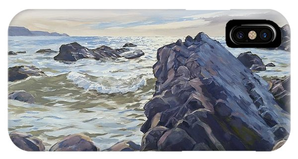 IPhone Case featuring the painting Rocks At Widemouth Bay, Cornwall by Lawrence Dyer