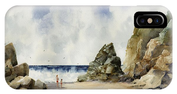 IPhone Case featuring the painting Rocky Beach by Sam Sidders