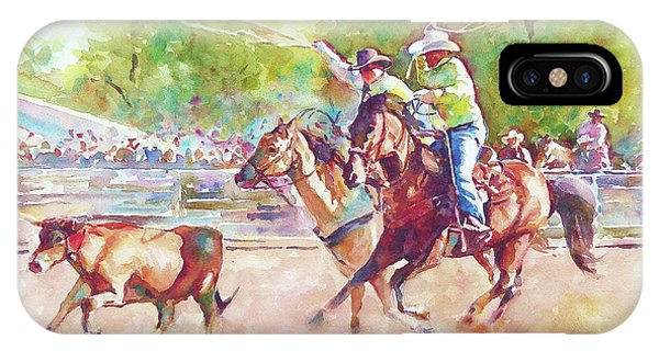 79e4bf5ac IPhone Case featuring the painting Cowboys Roping A Steer by Graham Berry
