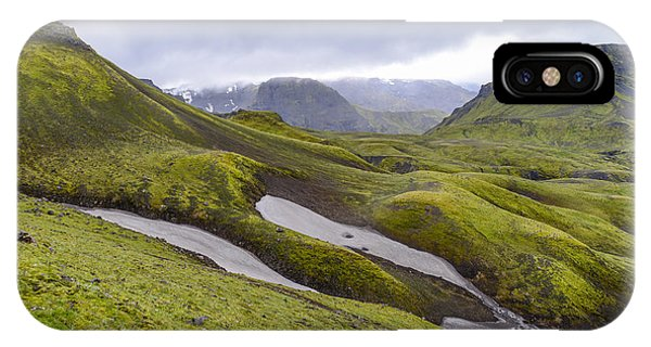 Rolling Lava Flows Entering Iceland's Thorsmork Nature Reserve IPhone Case
