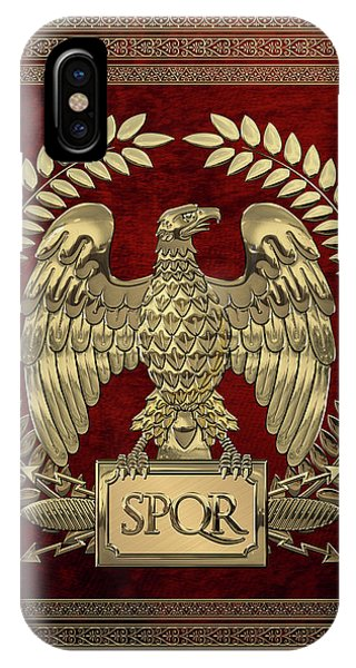 Roman Empire - Gold Imperial Eagle Over Red Velvet IPhone Case