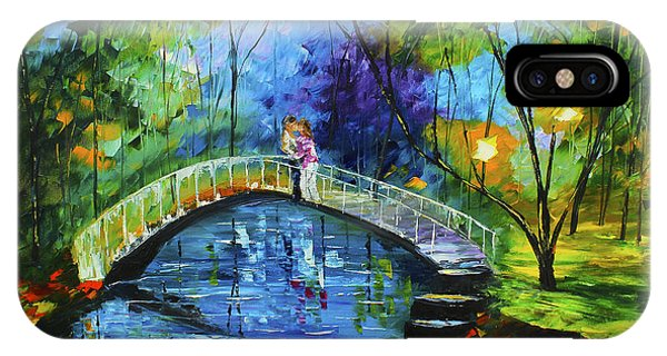 IPhone Case featuring the painting Romance On The Bridge by Kevin  Brown