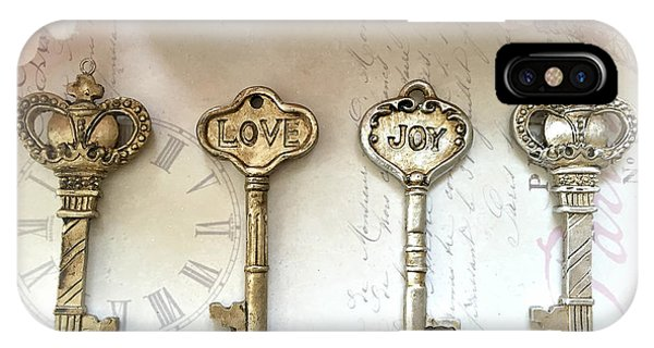 Silver And Gold iPhone Case - Love Joy Shabby Chic Vintage Keys - Gold And Silver Skeleton Keys Love Joy Home Decor by Kathy Fornal