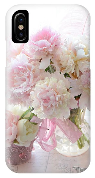 Shabby Chic Pink White Peonies - Shabby Chic Peonies Pastel Pink Dreamy Floral Wall Print Home Decor IPhone Case