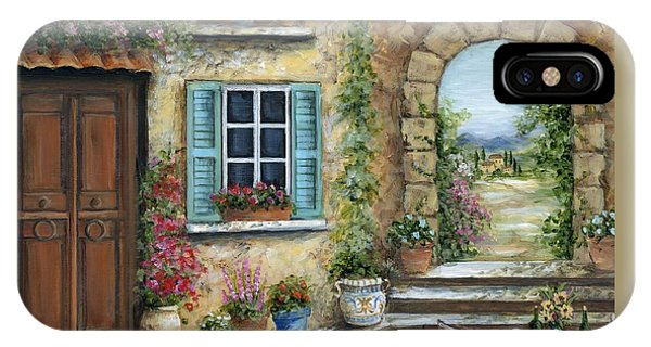 Porch iPhone Case - Romantic Tuscan Courtyard II by Marilyn Dunlap