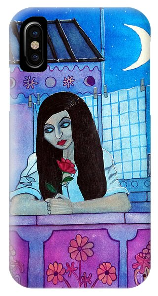 Romantic Woman In The Terrace At Night IPhone Case