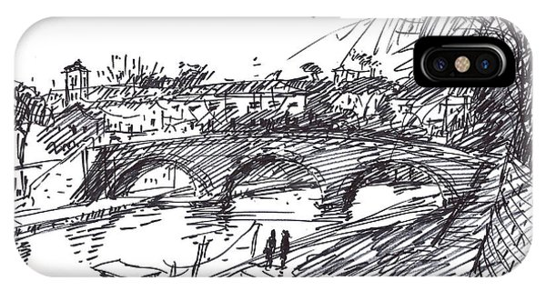 Cities iPhone Case - Bridge At Isola Tiberina Rome Sketch by Ylli Haruni