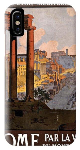 Geo iPhone Case - Rome Par La Voie Du Mont Cenis - Roman Forum At Dawn - Retro Travel Poster - Vintage Poster by Studio Grafiikka