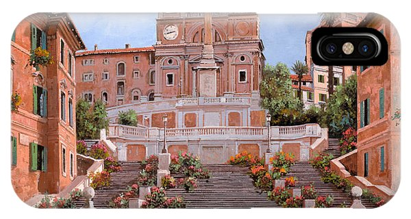 IPhone Case featuring the painting Rome-piazza Di Spagna by Guido Borelli