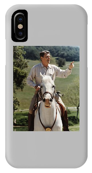 Patriot iPhone Case - Ronald Reagan On Horseback  by War Is Hell Store