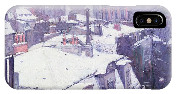 Paris iPhone Case - Roofs Under Snow by Gustave Caillebotte