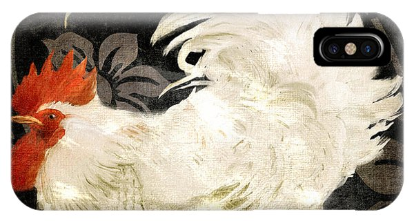 Rooster iPhone Case - Rooster Damask Dark by Mindy Sommers