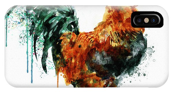Bird Watercolor iPhone Case - Rooster Watercolor Painting by Marian Voicu