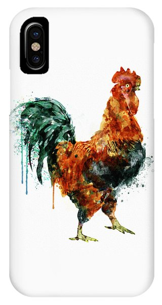 Rooster Watercolor Painting IPhone Case