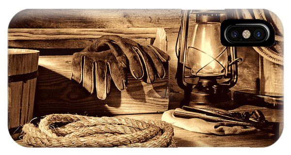 Rope And Tools In A Barn IPhone Case