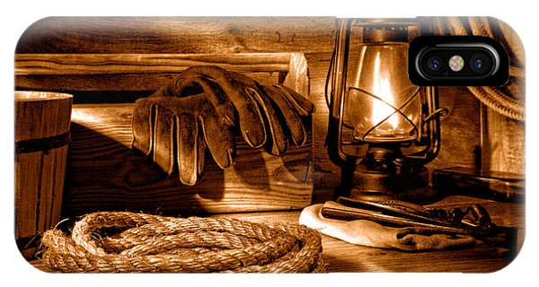 Farm Tool iPhone Case - Rope And Tools In A Barn - Sepia by Olivier Le Queinec