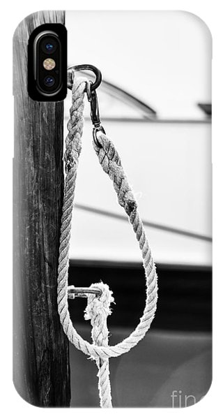White Fence iPhone Case - Rope Fence Fragment In Harbour by Elena Elisseeva