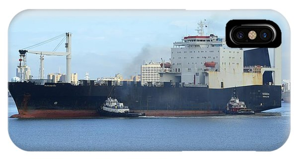 IPhone Case featuring the photograph Roro Cargo Ship And Tugboats. by Bradford Martin