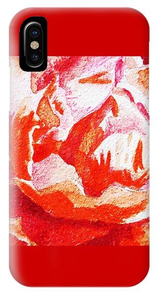 Hyper Realism iPhone Case - Rose Close Up Watercolor Painting by Irina Sztukowski