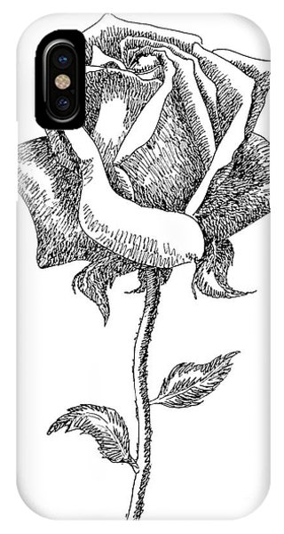 Rose Drawings Black-white 5 IPhone Case