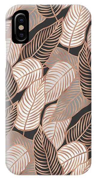 Rose Gold Jungle Leaves IPhone Case