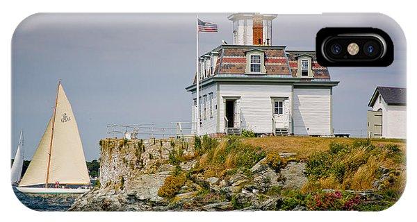 New England Coast iPhone Case - Rose Island Light by Susan Cole Kelly