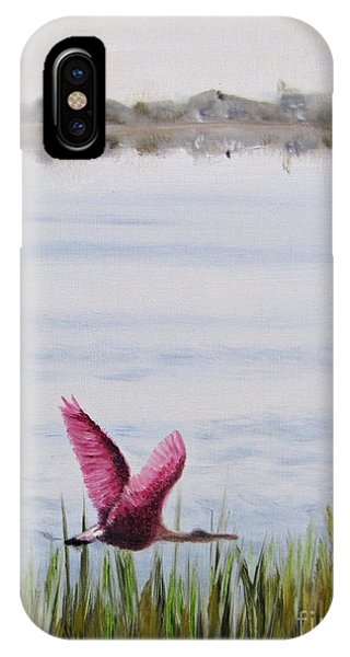 Roseate Spoonbill Flight Over The Bay IPhone Case
