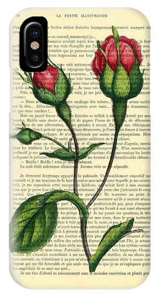 Growth iPhone Case - Rosebud Illustration On A Vintage Dictionary Book Page by Madame Memento