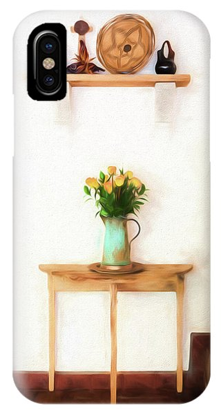 IPhone Case featuring the digital art Rose's On Table by Lou Novick