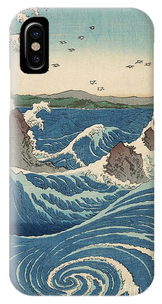 Tidal Waves iPhone Case - Rough Seas At The Whirlpools Of Awa by Hiroshige