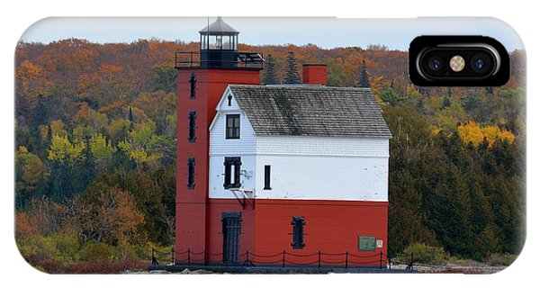 Round Island Lighthouse In October IPhone Case