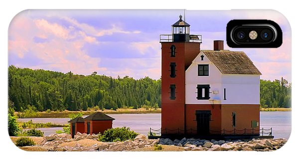 Round Island Lighthouse IPhone Case
