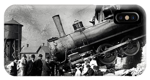 Passenger Train iPhone Case - Roundhouse Locomotive Crash - Minturn - 1913 by War Is Hell Store