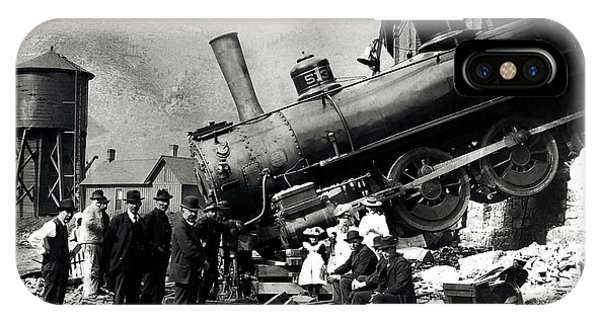 Wreck iPhone Case - Roundhouse Locomotive Crash - Minturn - 1913 by War Is Hell Store