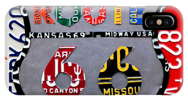 Car iPhone X Case - Route 66 Highway Road Sign License Plate Art by Design Turnpike