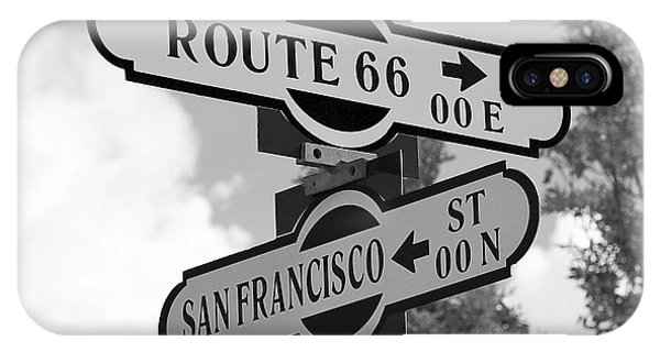 Route 66 Street Sign Black And White IPhone Case