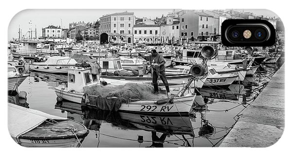 Rovinj Fisherman Working In Old Town Harbor - Rovinj, Istria, Croatia IPhone Case