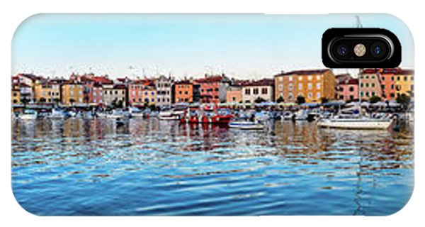 Rovinj Harbor And Boats Panorama IPhone Case
