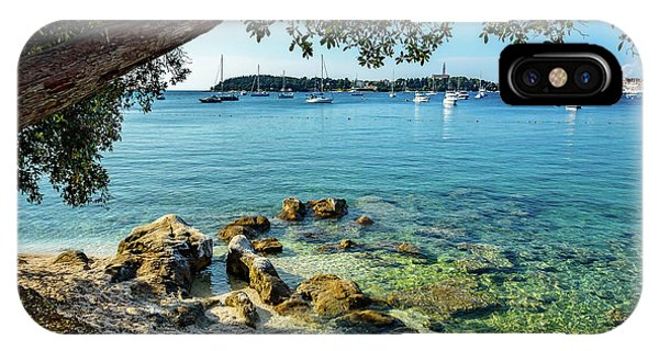 Rovinj Old Town, Harbor And Sailboats Accross The Adriatic Through The Trees IPhone Case