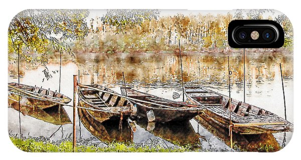 IPhone Case featuring the digital art Rowing Boats And Punts On The Loire France by Anthony Murphy