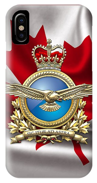 Royal Canadian Air Force Badge Over Waving Flag IPhone Case