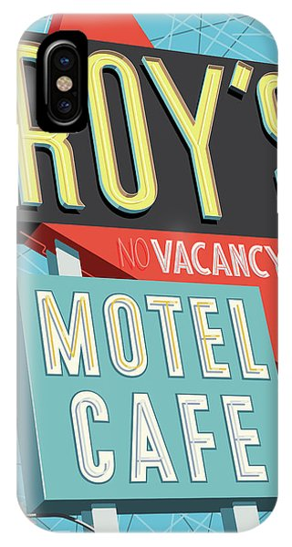 Road Signs iPhone Case - Roy's Motel Cafe Pop Art by Jim Zahniser
