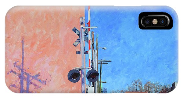 Trains iPhone Case - Rr Crossing At The Pink Warehouse by Edward Thomas
